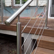 garde corps inox cable terrasse teck