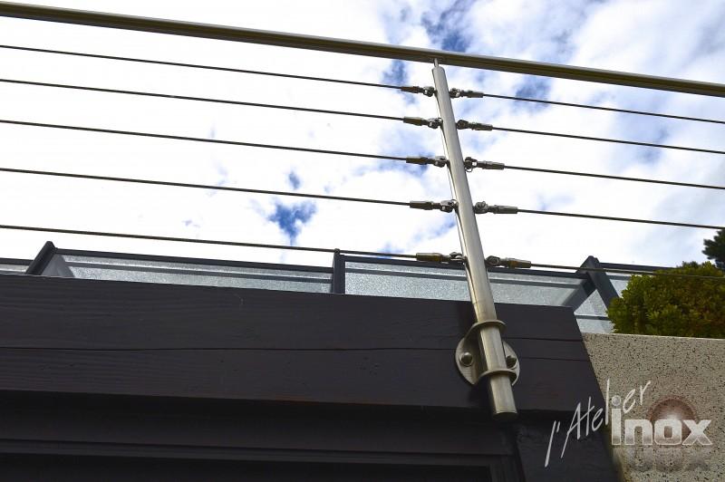 garde corps cable sur bois