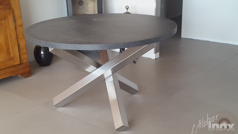 table inox plateau melaminé