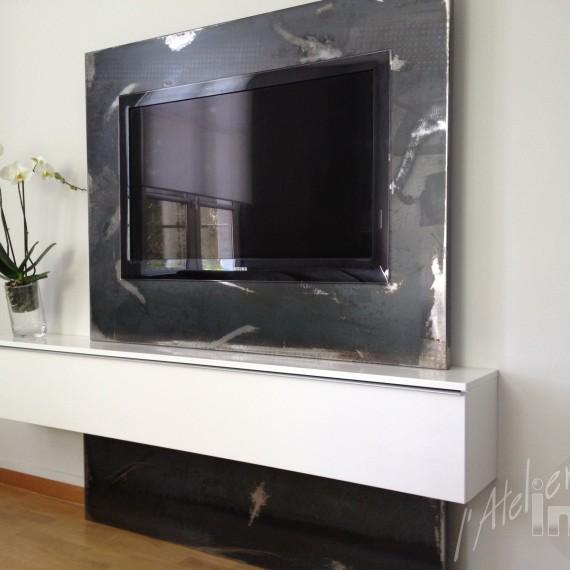 ensemble TV acier brut laminage
