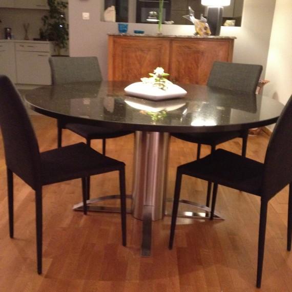pietement cylindrique de table inox