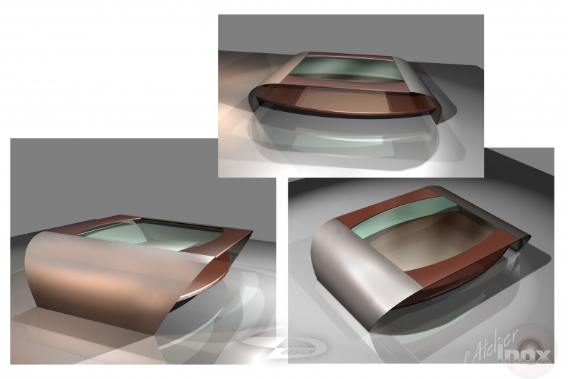 prototype table verre inox bois wengé
