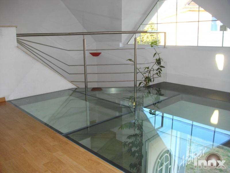 plancher verre 30mm sur tubes inox